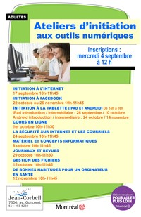 Inscriptions : Ateliers d'initiation aux outils numériques